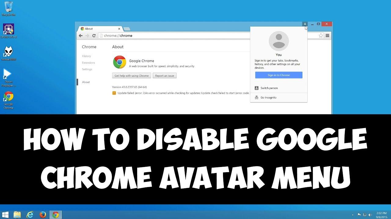 Disable Google Chrome avatar menu