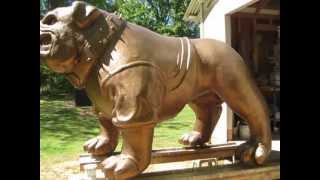 Monumental Foam Carved Bulldog Mascot Statue Completed