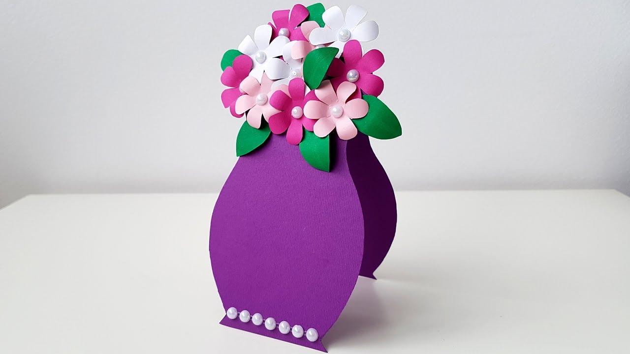 Видео открытка своими руками с цветами из цветной бумаги