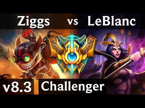 ZIGGS vs LEBLANC (MID) // Korea Challenger // Patch 8.3