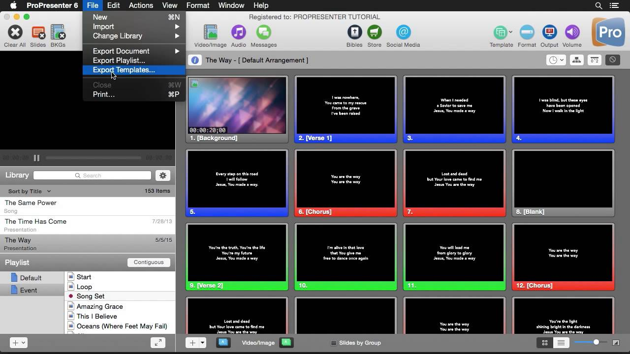 Importing, Exporting, and Recording with ProPresenter 6
