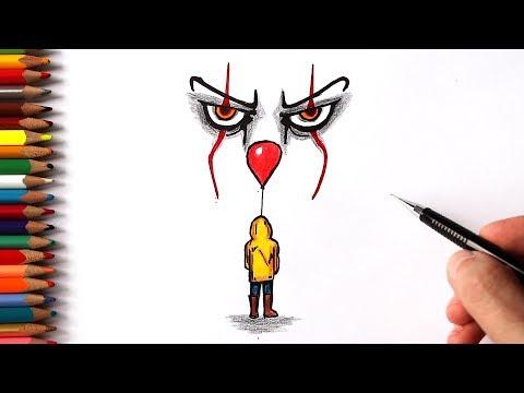 Как нарисовать Пеннивайза из фильма Оно