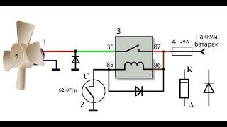 Ulanish diagramma elektr sovutish fan mashina radiatorga . Part 2