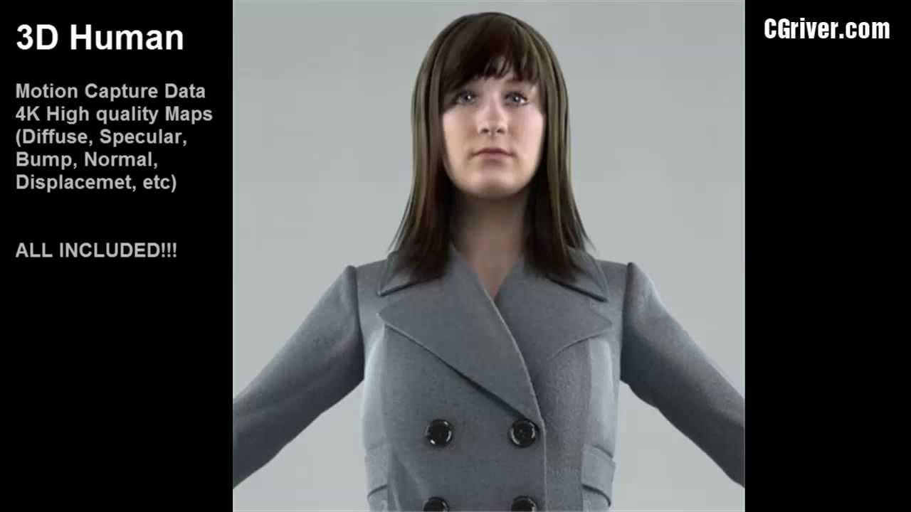 Human Female Sorceress 3d model 3ds Max files free