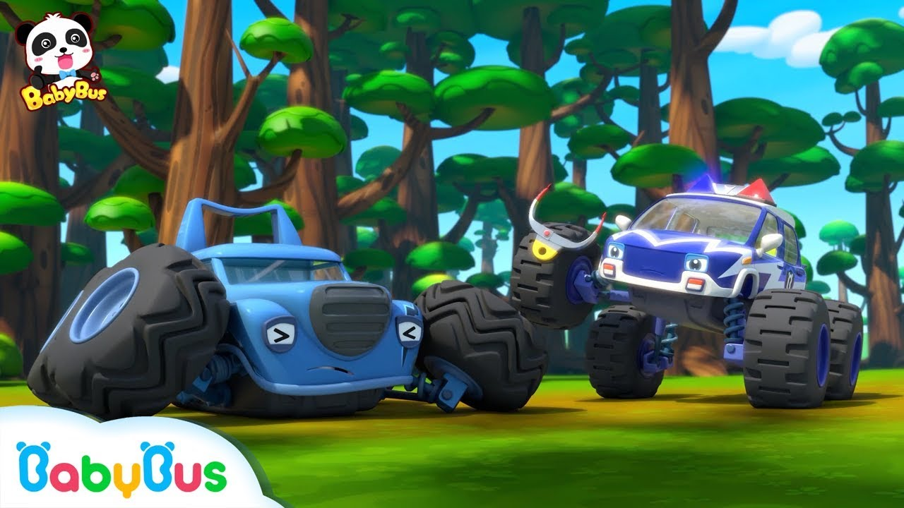 Monster Cars Forest Exploration Baby Panda S Crystal