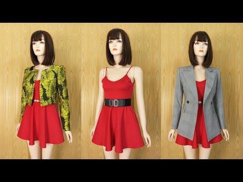 Cách Mix đồ Dạo Phố (P1) Váy Xòe Hai Dây Với Áo Vest Nữ | Thời Trang Thủy