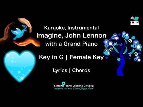 Imagine, John Lennon in Female Key Karaoke with a Grand Piano Instrumental