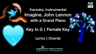 Imagine, John Lennon in Female Key Karaoke with a Grand Piano Instrumental