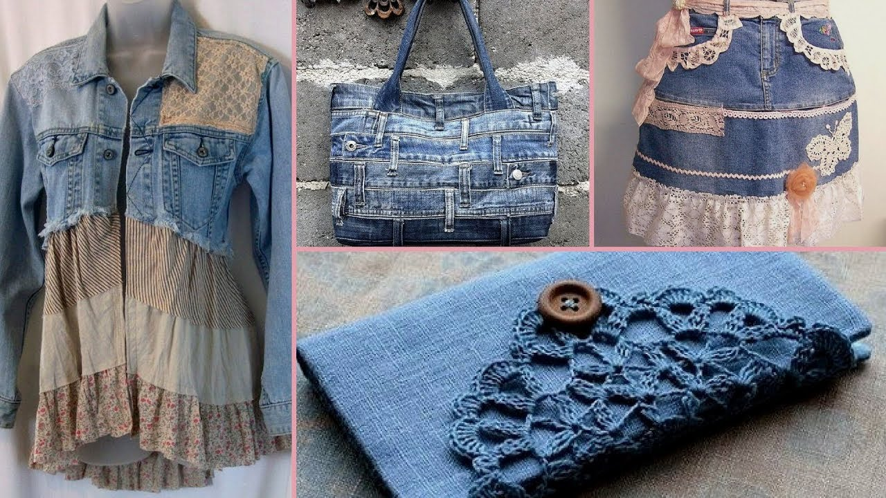 DIY Shabby Chic Style Repurpose old denim craft Ideas