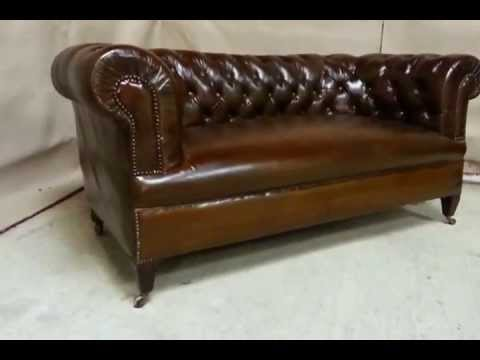 Antique Victorian Leather Chesterfield Sofa C1890