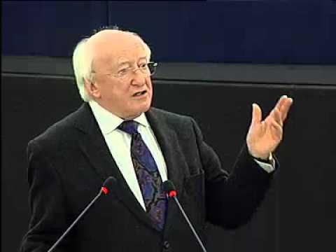 Michael D Higgins addresses the European Parliament