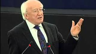 Michael D Higgins addresses the European Parliament