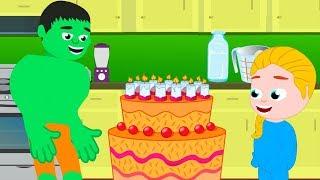 SUPER KIDS & THE SUPRISE BDAY CAKE ❤ Funny Cartoons For Kids