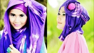Hijab Fashion | 2 Of 4 Hijab Styles: Tie Dye Pashmina Series by Didowardah - Part #1