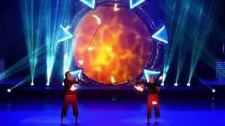 Niko & Kasmir fire staff juggling act