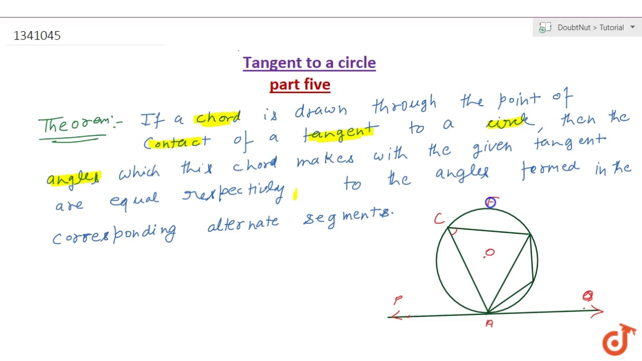 If a chord is drawn through the point of contact of a tangent to a circle;  then the angle which this