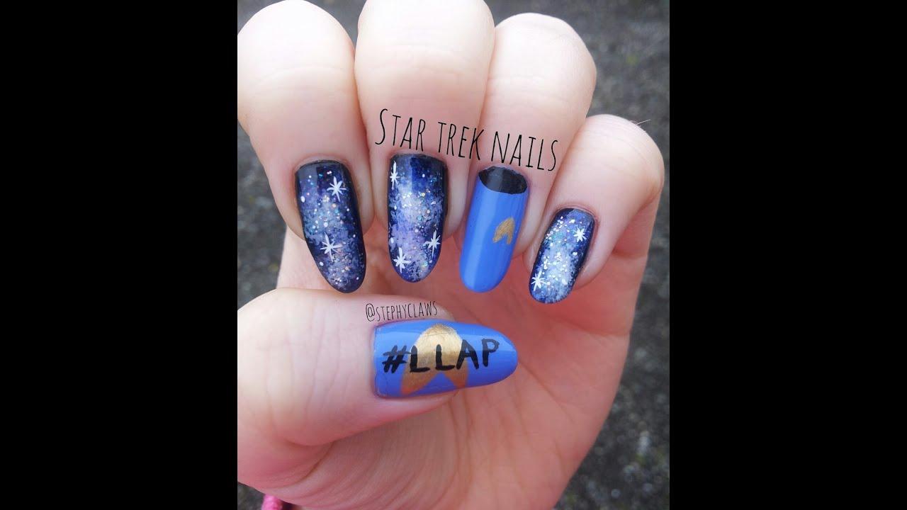 Star Trek Galaxy Nail Art Design Leonard Nimoy Tribute Nails Llap Youtube