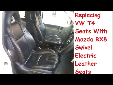 swap vw t4 seats for mazda rx8 electric heated leather swivel base seats -  youtube