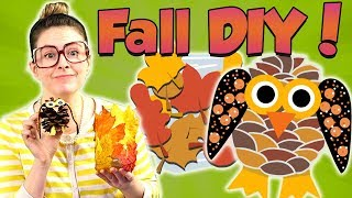 Fun Fall Crafts! DIY Owl Pinecone & Leaf Jar! | Arts and Crafts with Crafty Carol