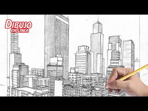 dibuja una ciudad a 2 puntos de fuga (explicado) - YouTube