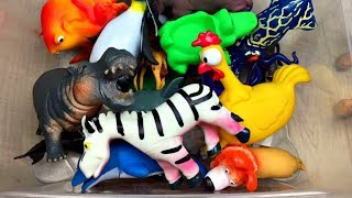 Zoo animals for kids Box of toys Learn animal names and sounds Learn farm animals