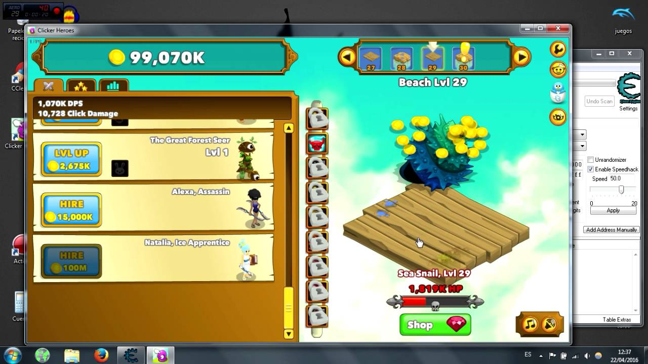 Clicker heroes Speed hack gold Cheat engine