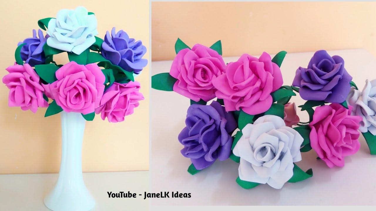 DIY Ramo de rosas de goma eva - Patrones gratis
