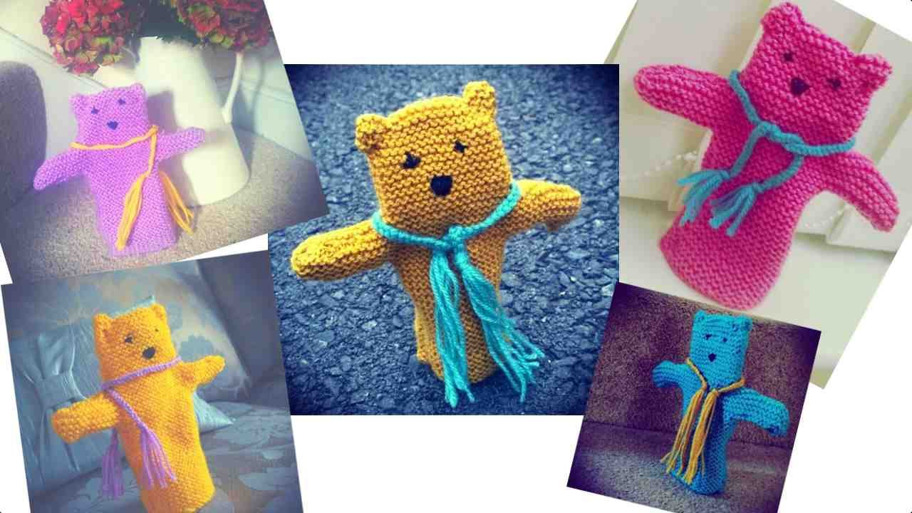 How to knit a teddy bear hand puppet - YouTube
