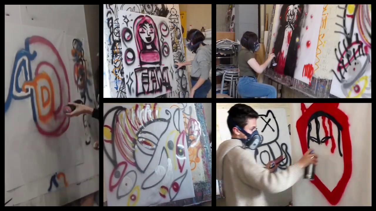 Atelier graff d'initiation à la peinture aérosol à l'École d'Art municipale de Romans sur Isère 1/2
