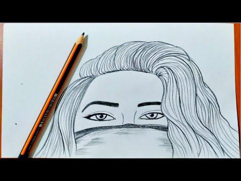 تعليم الرسم رسم بنت بكمامة بقلم الرصاص للمبتدئين بطريقة سهلة جدا
