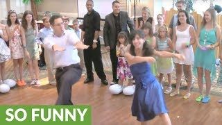 Father & daughter perform choreographed dance at bat mitzvah