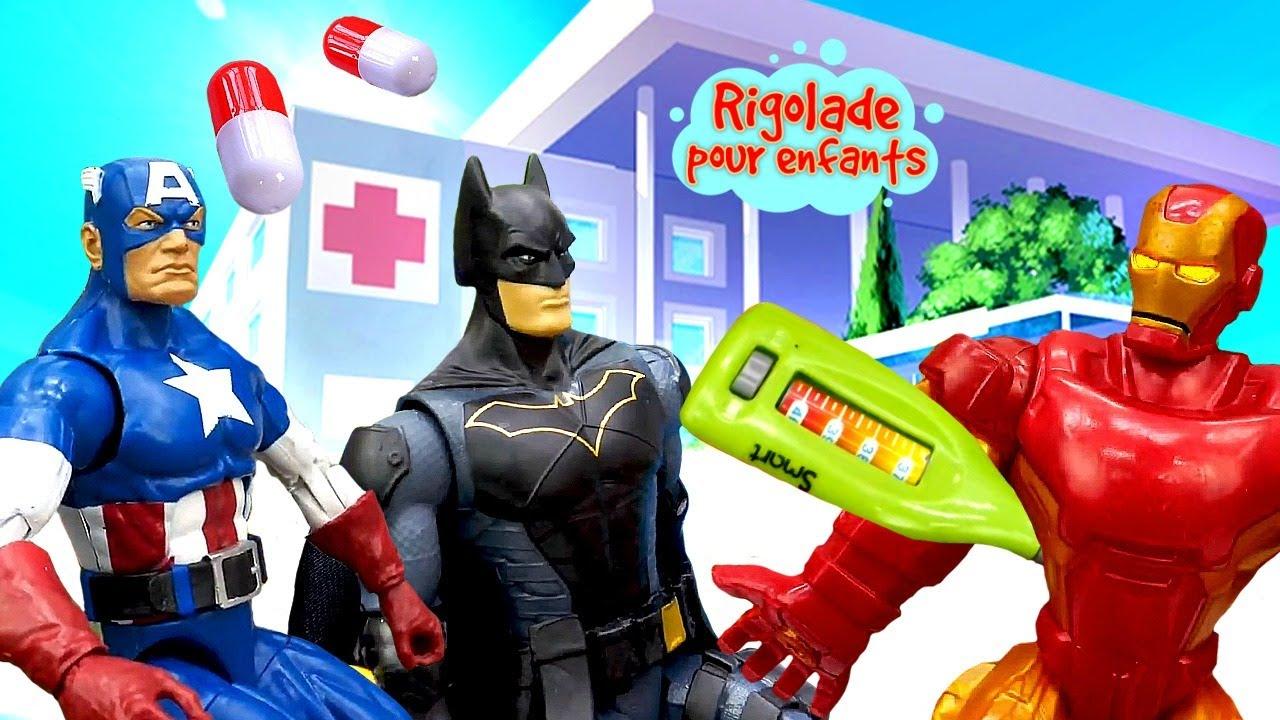 Ironman, Captain America, Batman et les autres. Vidéo drôle avec la mime et les super-héros.