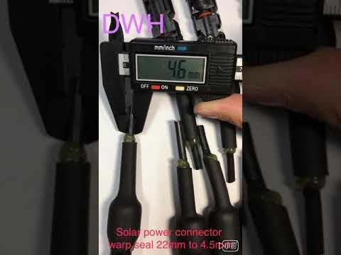 光伏、太陽能發電連接器密封示範。22mm縮至4.5mm以下。DWH Solar Power Connector Wrap Seal