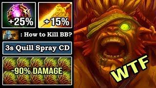 WTF CAN'T KILL -90% Damage 3s Quill Spray CD 40% Spell Lifesteal Bristleback Vs PL illusion DotA 2