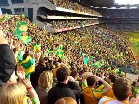 Donegal fans on Hill 16 singing Jimmy's Winning matches after the All Ireland