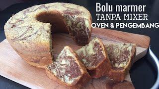 Resep Bolu Marmer Lembut Tanpa Mixer, Oven & Pengembang