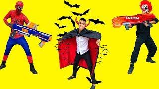 Nerf War Zombie: Couple Spider Man Warrior Nerf Gun Fight Criminal Group Defeat The Vampire