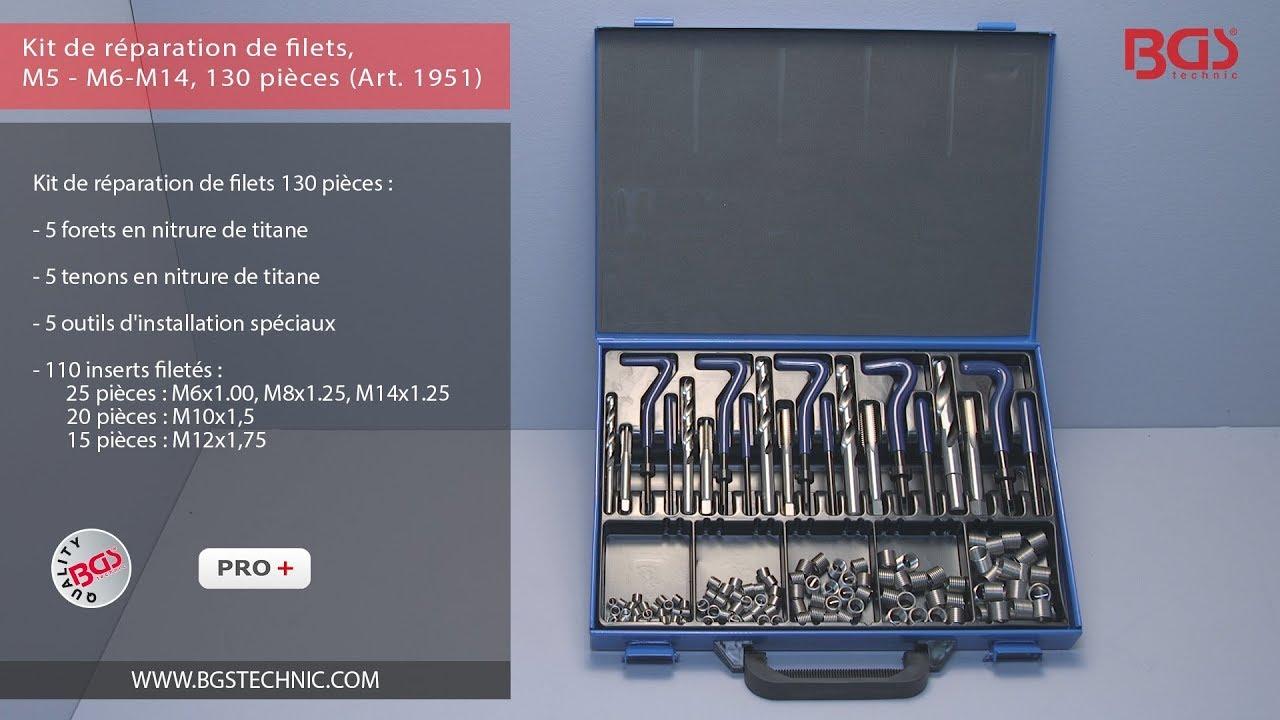 Kit de r/éparation de filets M14 130 pi/èces Bgs 1951 M6
