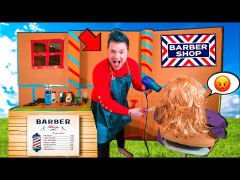 Box Fort BARBERSHOP Haircut Challenge Roleplay! Two Story Box Fort Salon, Funny Customers! 📦💇‍♀️