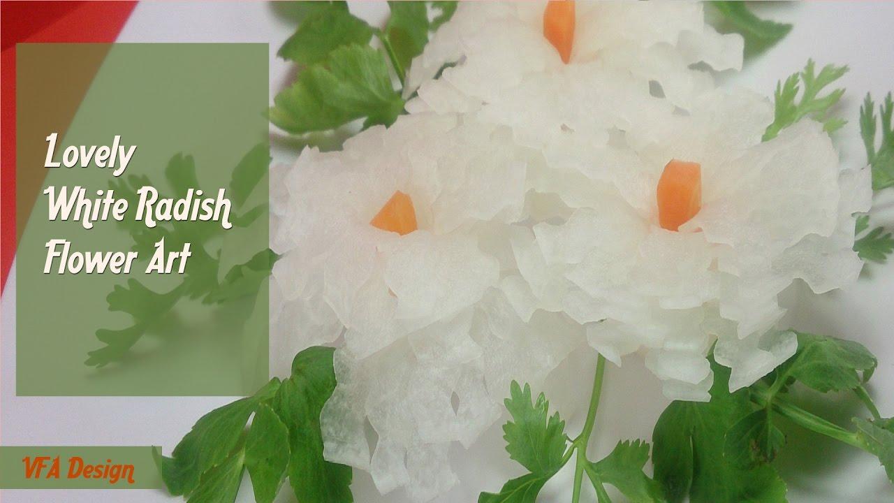 Art In Radish Rose Design Vegetable Carving Flower Garnish Youtube