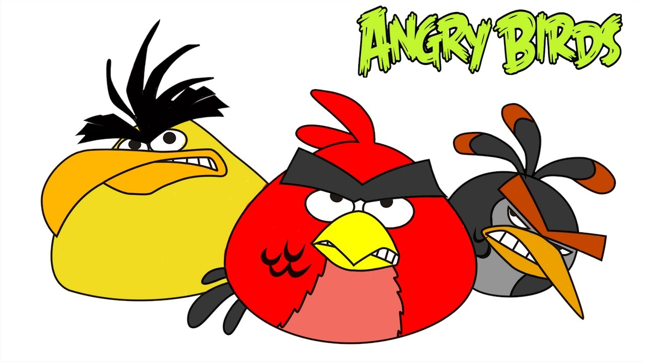 Angry Birds Coloring Pages With Red Bird Chuck And Bomb Colouring Learn Colors For Kids