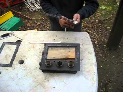 Home made wood stove glass replacement - Home Made Wood Stove Glass Replacement - YouTube