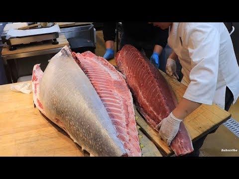 Pertunjukan Pemotongan Ikan Tuna Raksasa, Aneka Raja Tuna Sashimi - Makanan Jalanan Korea Di Seoul
