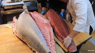 200kg Giant Tuna Cutting Show - Bluefin Tuna Sashimi at Noryangjin Fish Market / Korean Seafood