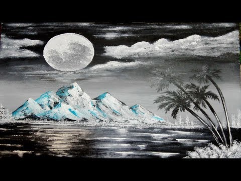 Black & White  Easy Abstract Landscape Painting Demo  For Beginners | Moon Light Paint | Zeeshan Art