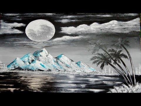 Black & White  Easy Abstract Landscape Painting Demo  For Beginners | Moon Light Paint | Zeeshan Art