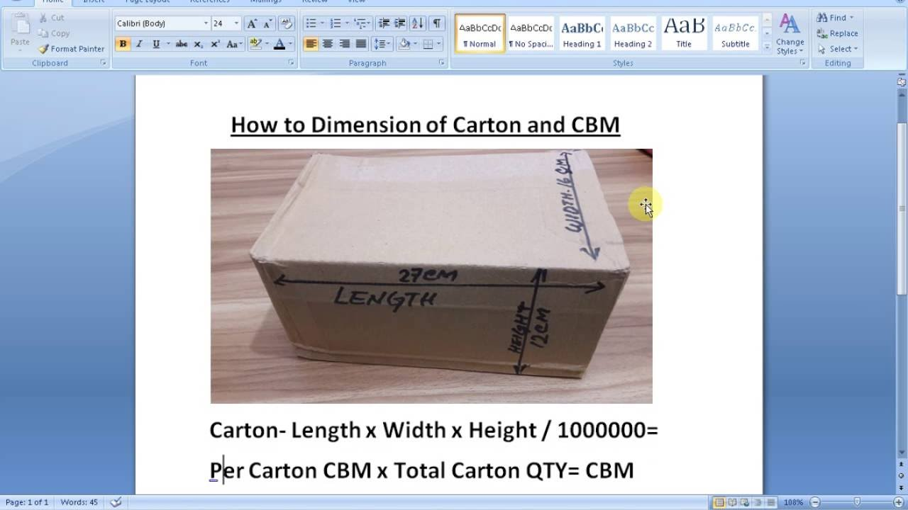 how to work out cbm