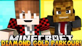 Minecraft DIAMOND VS GOLD PARKOUR RACE! w/ Bajan Canadian & JeromeASF