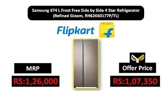 Samsung 674 L Frost Free Side by Side 4 Star Refrigerator (Refined Gleam, RH62K60177P/TL)