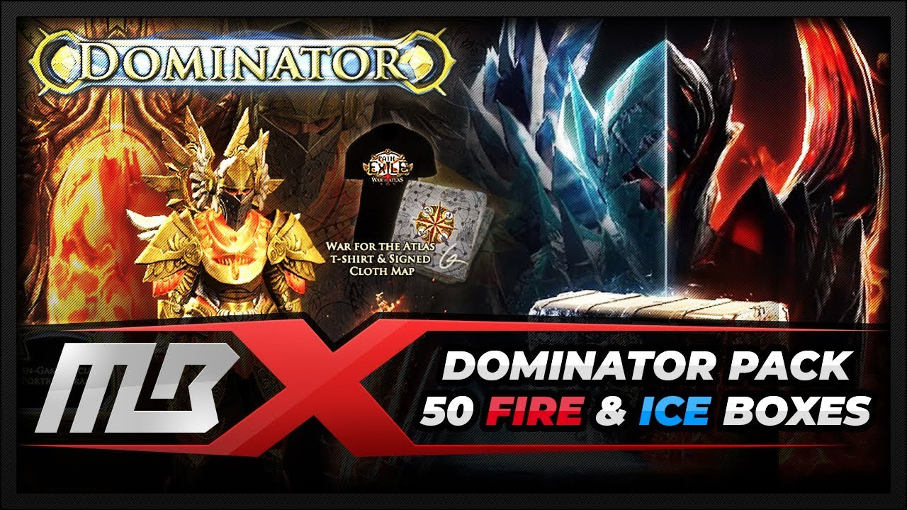 path of exile dominator supporter package opening 50 fire ice
